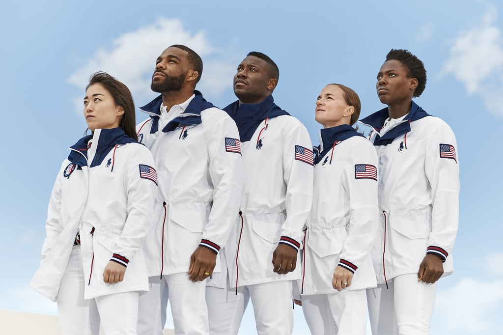 "Nike gave us our first glimpse of the Team USA Olympic uniforms last year (haven't stopped thinking about that all-white podium look since, TBH), and now Ralph Lauren is following suit, unveiling the official closing ceremony outfits that Team USA will rock this August in Tokyo. And yes, they're as fresh, clean, and classic as you'd expect, with navy polos, white windbreakers, and white pants to finish off the look. Another fun fact: Ralph Lauren incorporated sustainable and recycled fabrics throughout the uniform. The red, white, and blue striped belt and the drawstring jacket are both made from Repreve recycled polyester (derived from plastic water bottles), the brand said, while the pants feature a nifty back patch of Mirum, a leather alternative made of renewable resources, including plant-based materials and agricultural by-products. ""As we come together to celebrate and compete, we must also embrace our responsibility to protect the planet we all call home,"" said David Lauren, the brand's chief innovation and branding officer and vice chairman of the board. ""As part of this, we are proud to continue to invest in and scale sustainability innovations — dressing our nation's best and brightest athletes in timeless clothing that has been consciously created."" The bright and sporty feel is definitely a classic one, and if you can't wait until the Olympics to see some of your fave athletes modeling it, go ahead and read on. A handful of Team USA athletes, including swimmer Katie Ledecky, karate athlete Sakura Kokumai, water polo player Ashleigh Johnson, and surfer Caroline Marks, showed off the new look and gave us a taste of what we'll see in Tokyo very soon. To learn more about all the Olympic hopefuls, visit TeamUSA.org. Watch the Tokyo Olympics this summer on NBC.      Related:                                                                                                                                Abby Wambach and Usain Bolt Star in Iconic Gatorade Commercial Remake For Gender Equality"