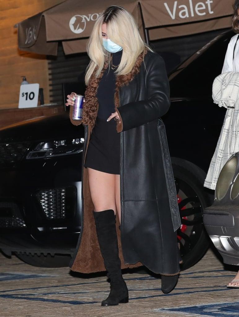 Selena Gomez's Black Miniskirt With a Shearling Trench Coat