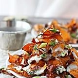 Baked Sweet Potato Chips With Blue Cheese Sauce, Bacon, and, Scallions