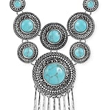 Lucky Brand Silver-Tone Turquoise Statement Necklace