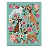 Boxer Dog Floral Art Print