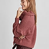 Express Oversize Ruffle Cowl-Neck Sweater