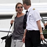Brad Pitt leaving Cancun.