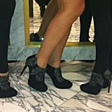 The Peep Toe managers wearing the Miss Lure shoes. Twitter User: PeepToe_Tweets