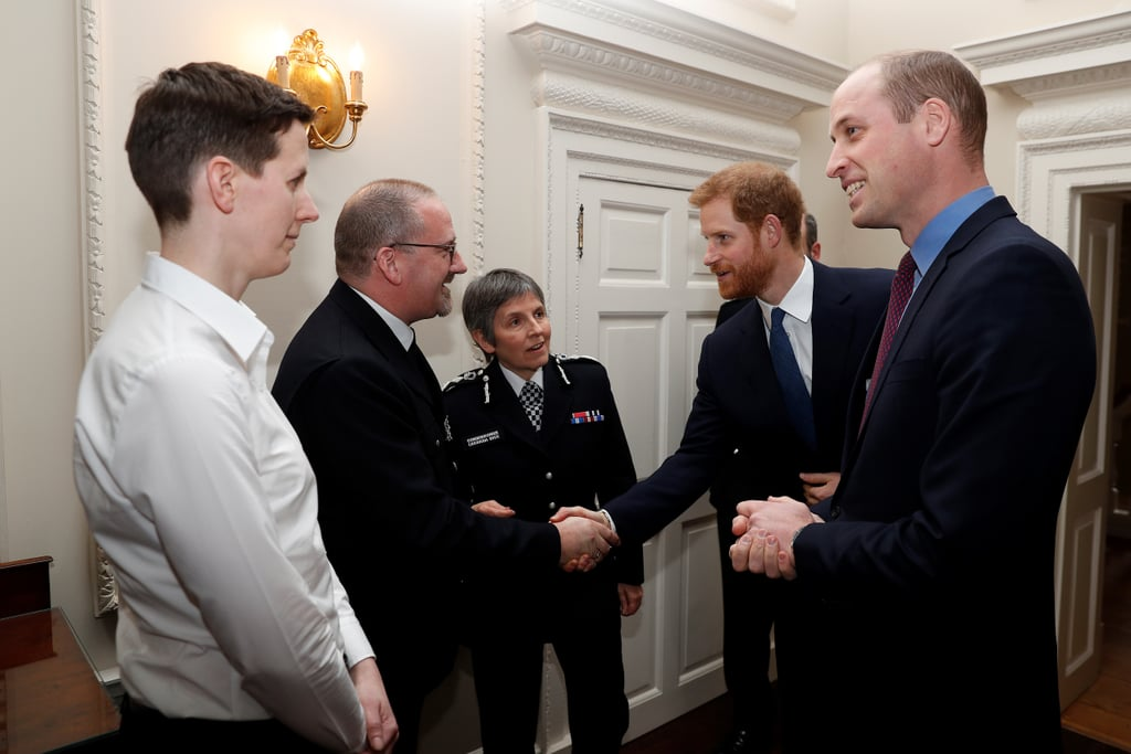 "Prince Harry may be getting ready to tie the knot, and Prince William is gearing up to become a father of three (although we're not sure if he's still ""in denial""), but the royals aren't letting their personal lives slow down the important work they're doing. After attending the Commonwealth Day service at Westminster Abbey in London with Kate Middleton and Meghan Markle just the day before, William and Harry hosted this year's winners of the Met Excellence Awards at Kensington Palace on Tuesday. The annual ceremony recognizes police officers, staff, and volunteers for their outstanding work in serving and protecting the public, and Harry and William looked delighted while speaking with them.  Unfortunately, Meghan and Kate weren't in attendance; Kate was busy meeting with representatives from Wimbledon and Coach Core to discuss children's tennis initiatives in the UK. It's been nearly three months since Harry and William had a brotherly outing with just the two of them, so we're happy to see them together again.       Related:                                                                                                           10 Family Traditions Princess Diana Passed On to William and Harry"