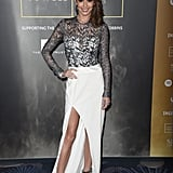 All glammed up for the Music Industry Trust Awards in November 2015, Cheryl wore a lace-top gown with a split white skirt by Galvan London.