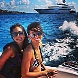 Chanel Iman sported a nautical-inspired bikini while hanging on a boat with her friend. Source: Instagram user chaneliman