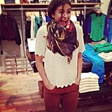 Style director Noria Morales couldn't be cuter or happier to be at the Madewell event in NYC.
