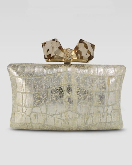 This Overture Judith Leiber embossed gold clutch ($395) will surely add sophistication to any bridal look.