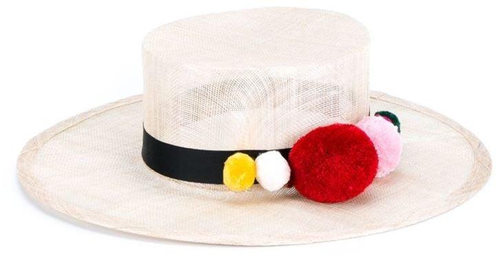 Natasha Zinko Pom Pom Trim Straw Hat ($530)