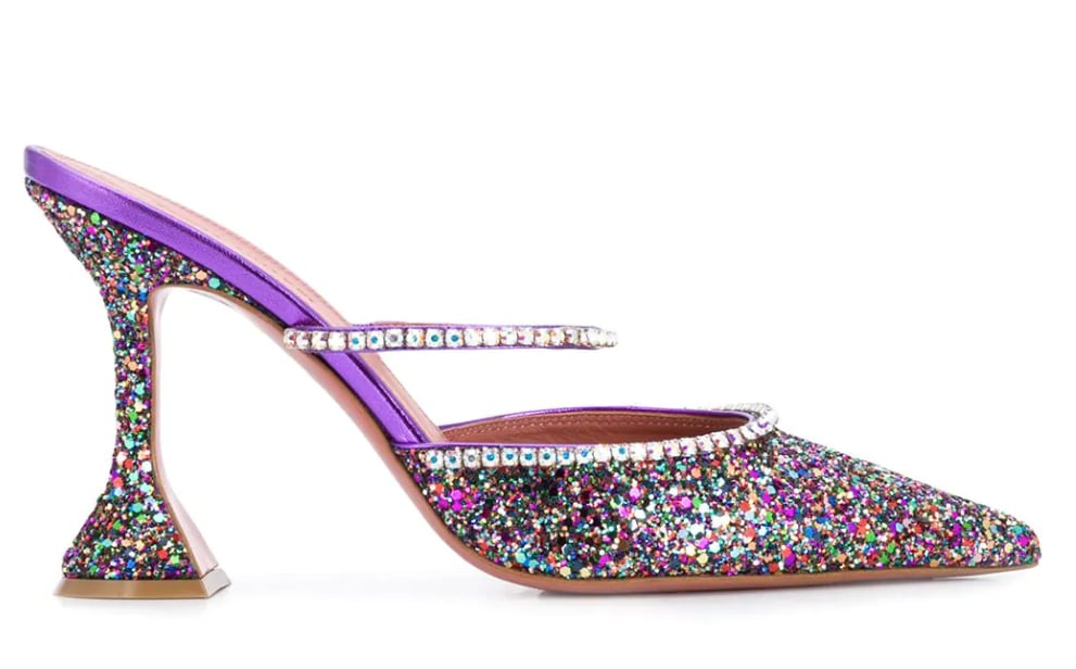 Amina Muaddi Gilda Glitter Embellished Pumps