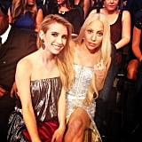 Lady Gaga and Emma Roberts sat together during the event. Source: Instagram user emmaroberts06