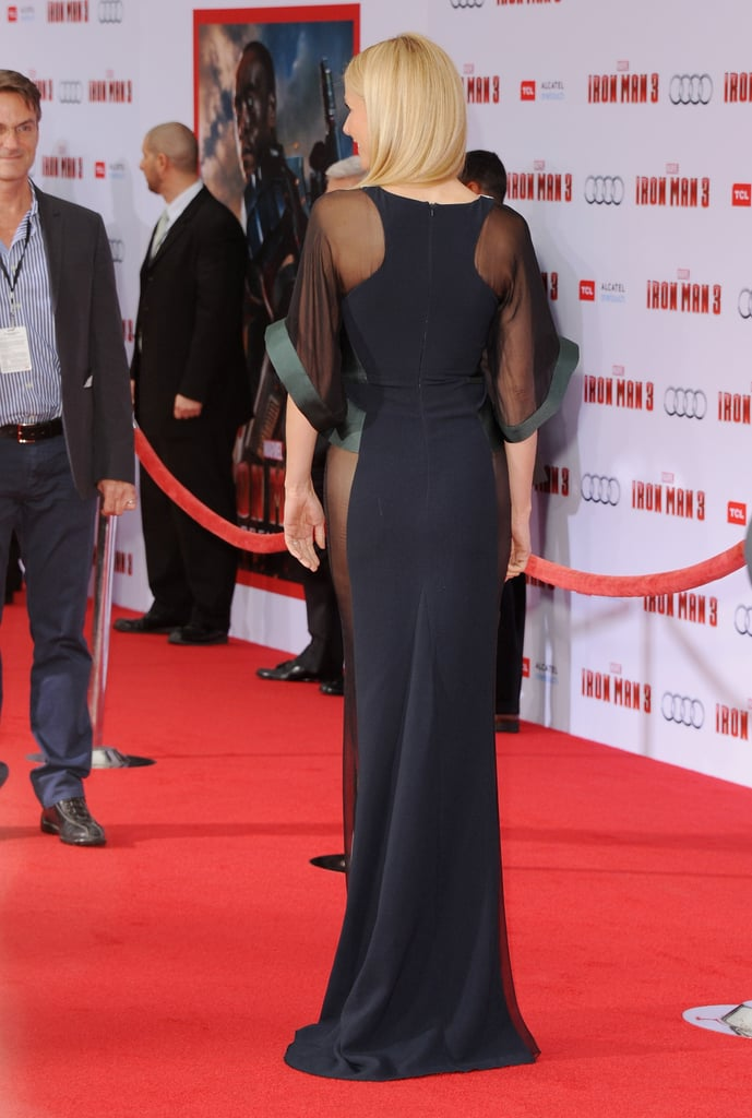 From the back, her Antonio Berardi gown showed off a sportier racerback silhouette.