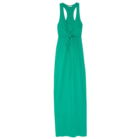 """>> Go tropical. The jade-green shade of this knot-front maxi is the perfect compliment to vibrant cobalt earrings and coral shoes. Juicey Couture Slub-Jersey Dress, $160 Looks chic with: <iframe src=""""http://widget.shopstyle.com/widget?pid=uid5121-1693761-41&look=3354578&width=3&height=3&layouttype=0&border=0&footer=0"""" frameborder=""""0"""" height=""""244"""" scrolling=""""no"""" width=""""286""""></iframe>"""