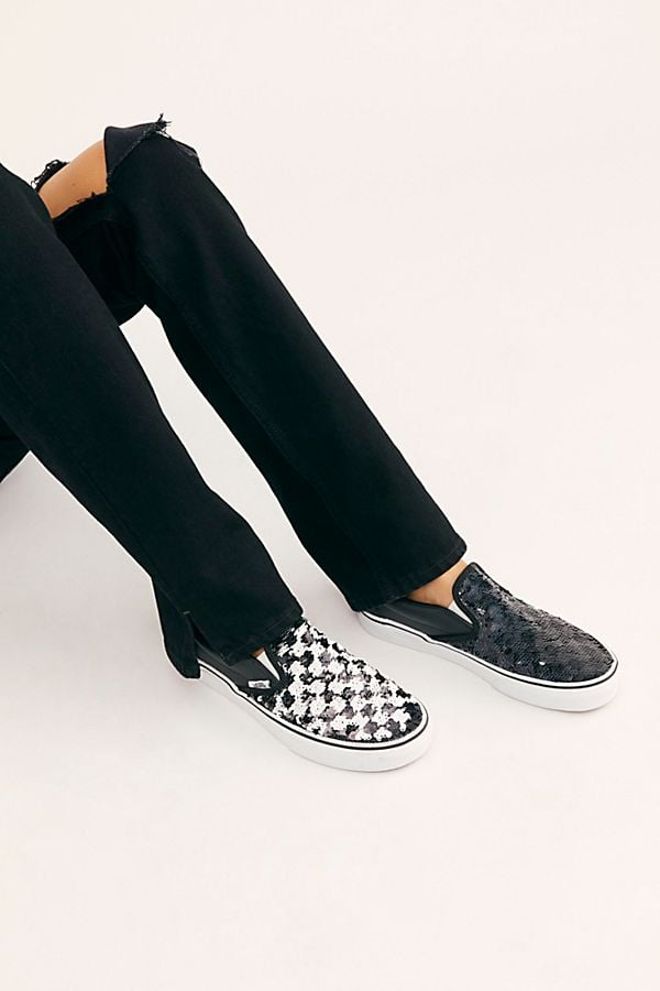 Vans Sequin Classic Slip On Sneaker in Black Checkerboard