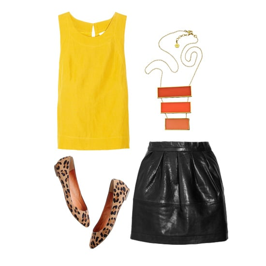 The best way to un-bumble a yellow-and-black ensemble is to add another color, or even incorporate prints. We love how a silky tank looks when tucked into a black leather skirt and paired with a colorful statement necklace and leopard-print flats.  Kain Campbell Silk and Linen-Blend Top ($180) Trina Turk Sunset Tonal Pendant Necklace ($250) Paul & Joe Sister Cartell Leather Mini Skirt ($485) Madewell The Leopard-Print Sidewalk Skimmer ($135)