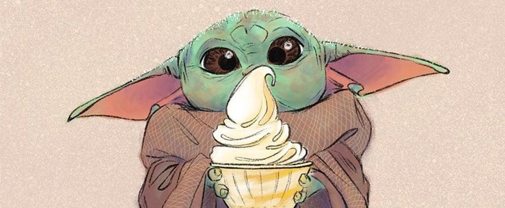 Illustrations of Baby Yoda Eating Popular Disney Snacks