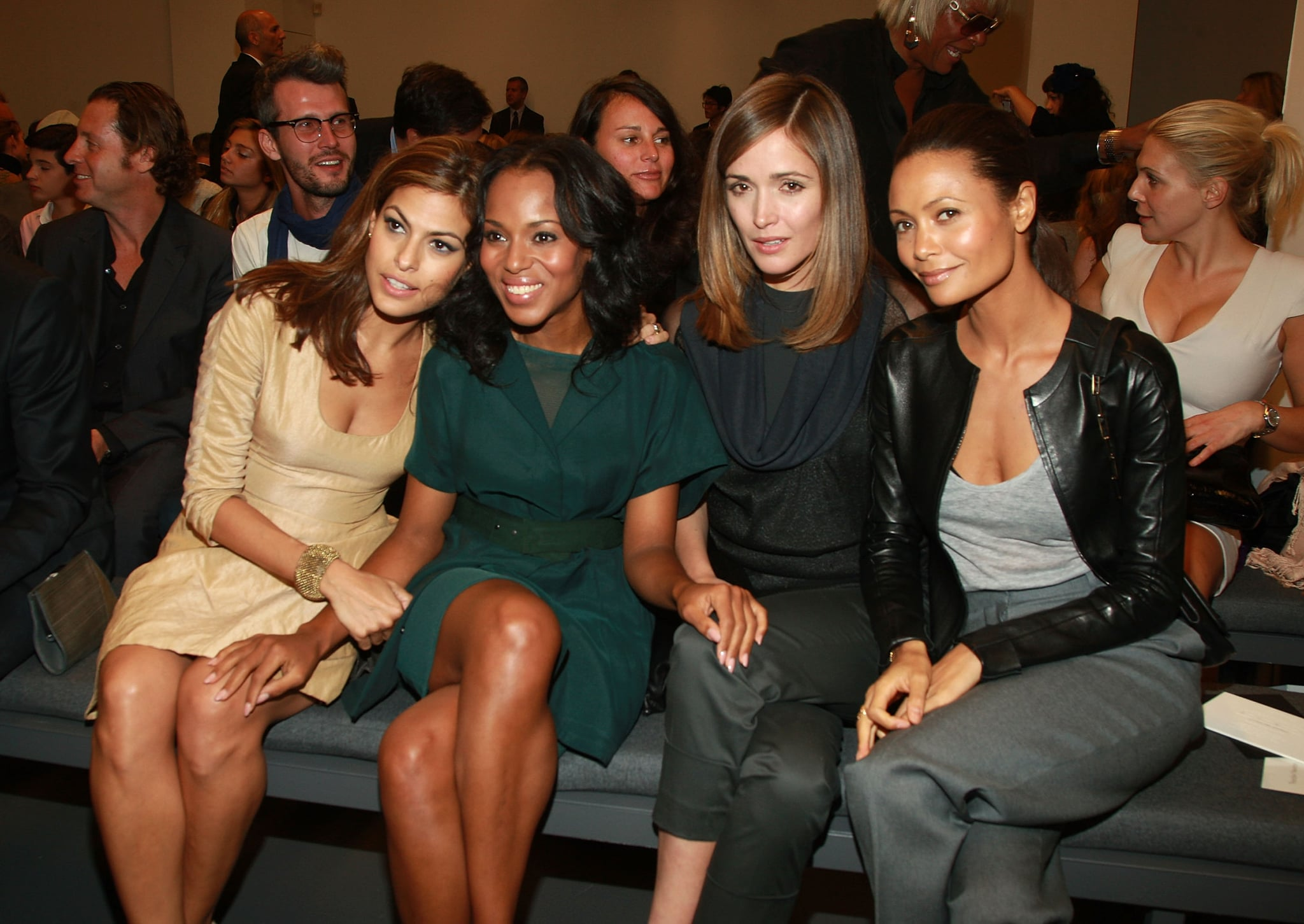 Eva Mendes, Kerry Washington, Rose Byrne, and Thandie Newton cozied up in September 2009 to see Calvin Klein's NYC show.