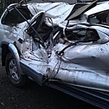 Hunter's side of the car after the crash.