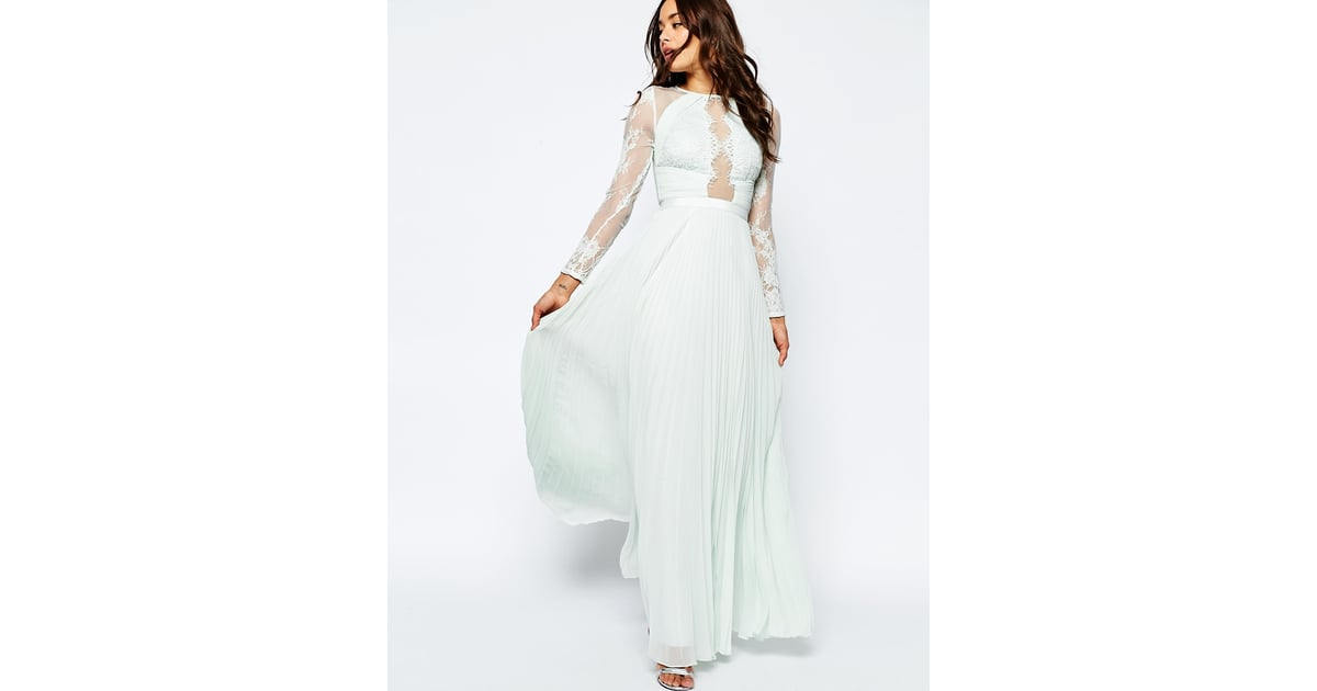 Asos wedding eyelash lace and pleat maxi dress 95 for Where to buy off the rack wedding dresses