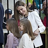 The Queen looked after her daughters during an Easter mass in April.