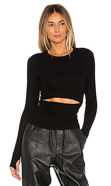 Michael Lauren Carl Slit Waist Top in Black