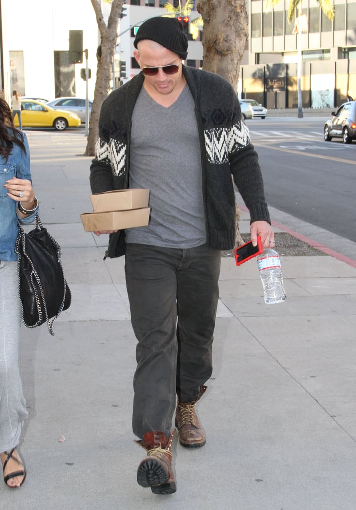Channing Tatum's newly buzzed head was showing under his hat.