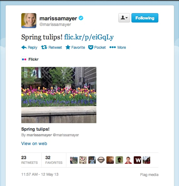 Yahoo! CEO Marissa Mayer celebrated her first Mother's Day with some beautiful blooms.