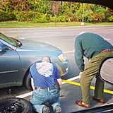 """And why is Christian the greatest guy we know? Because he stops to change a flat for a random stranger :)"""