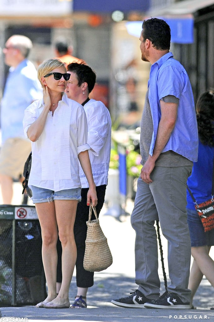 Michelle Williams and boyfriend Jason Segel shared a relaxing weekend in NYC together. The East Coast heat wave meant short shorts for Michelle, while Jason kept things casual and scruffy. Michelle has been out promoting her new movie Take This Waltz, which costars Seth Rogen, and earlier this week Jason attended the premiere afterparty with her. The two have reportedly been dating since February and have known each other for a while since they share mutual friend Busy Philipps. Michelle spoke about her love life and finding happiness in a recent interview, though she and Jason have yet to talk publicly about their relationship.