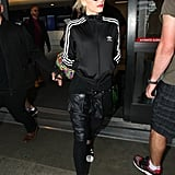While tracksuits can be cute as is, Gwen Stefani opted to make things more interesting, swapping out the matching pants for loose leather joggers.