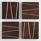 Square Wood and Copper Inlay Coasters Four Pack