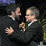 Ben Affleck accepted an honor at the Santa Barbara Film Festival from longtime friend Matt Damon.