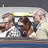 Victoria Beckham went to lunch with David and Harper on her birthday.