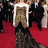 She wore a an Alexander McQueen dress with Harry Winston jewels to the 2012 Academy Awards.