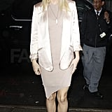 A straight full-length shot of Gwyneth's minimal modern 'fit.