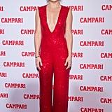 Nov. 18: She celebrated her Campari calendar in a low-cut jumpsuit in NYC.