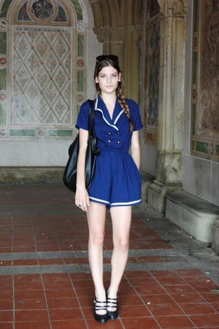 With a romper this sweet, in a sailor-inspired style, keep the rest understated. This styler balances the statement power of her romper and heels with an everyday tote and a simple braid. Photo courtesy of Lookbook.nu