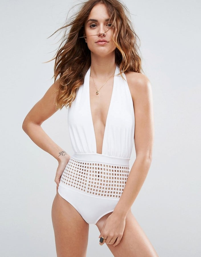 ASOS Square Cut-Out Plunge Halter Swimsuit