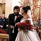 And she has Huck (Guillermo Díaz) walk her down the aisle!