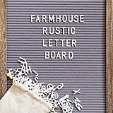 Felt Letter Board with Rustic Wood Frame, Script Words and Precut Letters