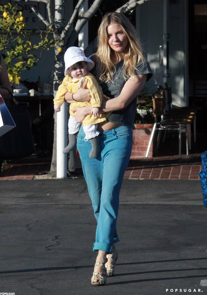 Sienna Miller carried Marlowe after lunch.