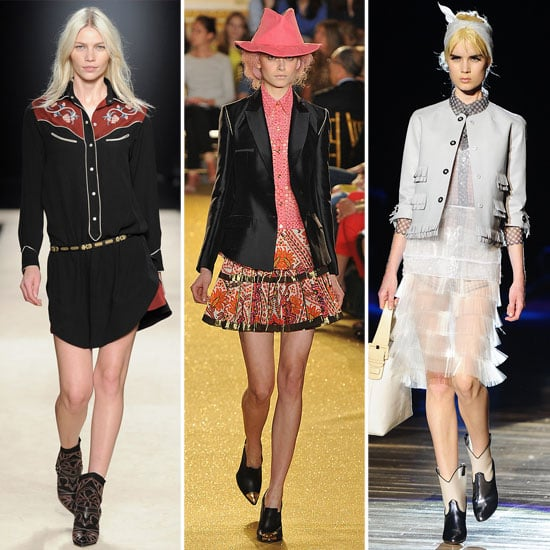 Richly embroidered button-downs, pointed collars, cool-girl cowboy boots, and even cowboy hats hit both the Spring and Fall '12 runways, as seen at Marc Jacobs, Thakoon, and Isabel Marant. From left to right: Isabel Marant Fall '12, Thakoon Spring '12, and Marc Jacobs Spring '12