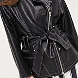 UO Faux Leather Belted Moto Jacket