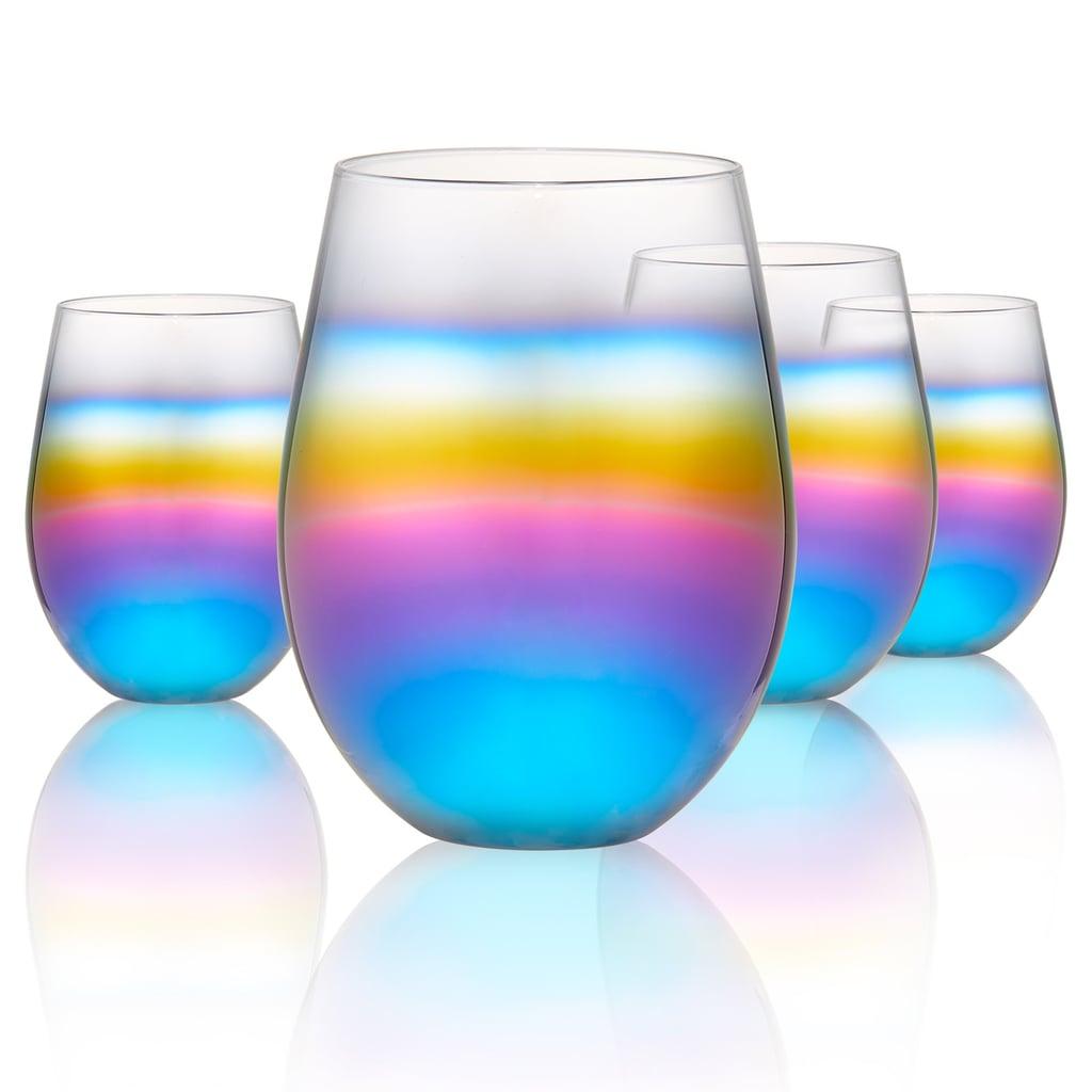 Rainbow Stemless Wine Glasses
