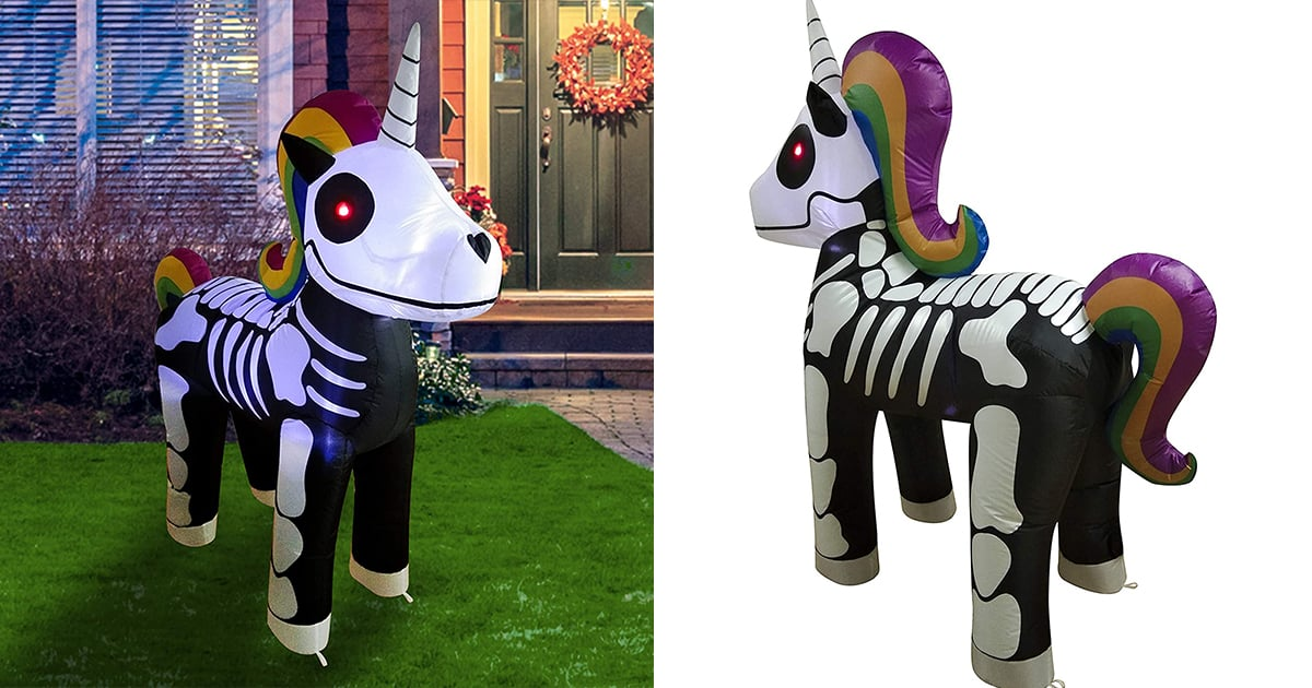 If You Happen to Be on the Market For a Giant Unicorn Skeleton, This Inflatable One Lights Up