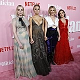 Lucy Boynton, Julia Schlaepfer, January Jones, and Zoey Deutch at The Politician Premiere