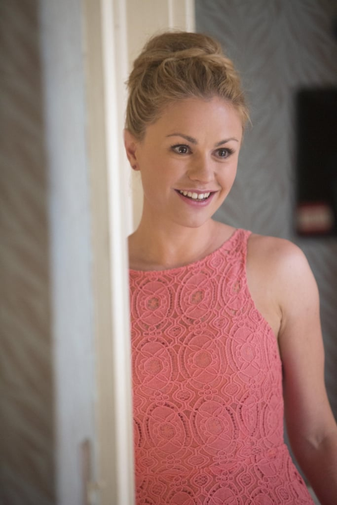 Sookie dons a cute dress and a smile on the way to the nuptials.
