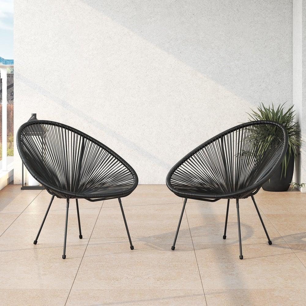Corvus Sarcelles Modern Wicker Indoor/Outdoor Chairs  (Set of 2)