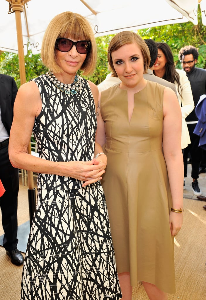 Our jaws dropped when we spotted Lena Dunham's stunning smoky eye and apricot lipstick, which she paired with a slick sideswept style. We're sure Anna Wintour approves, too.
